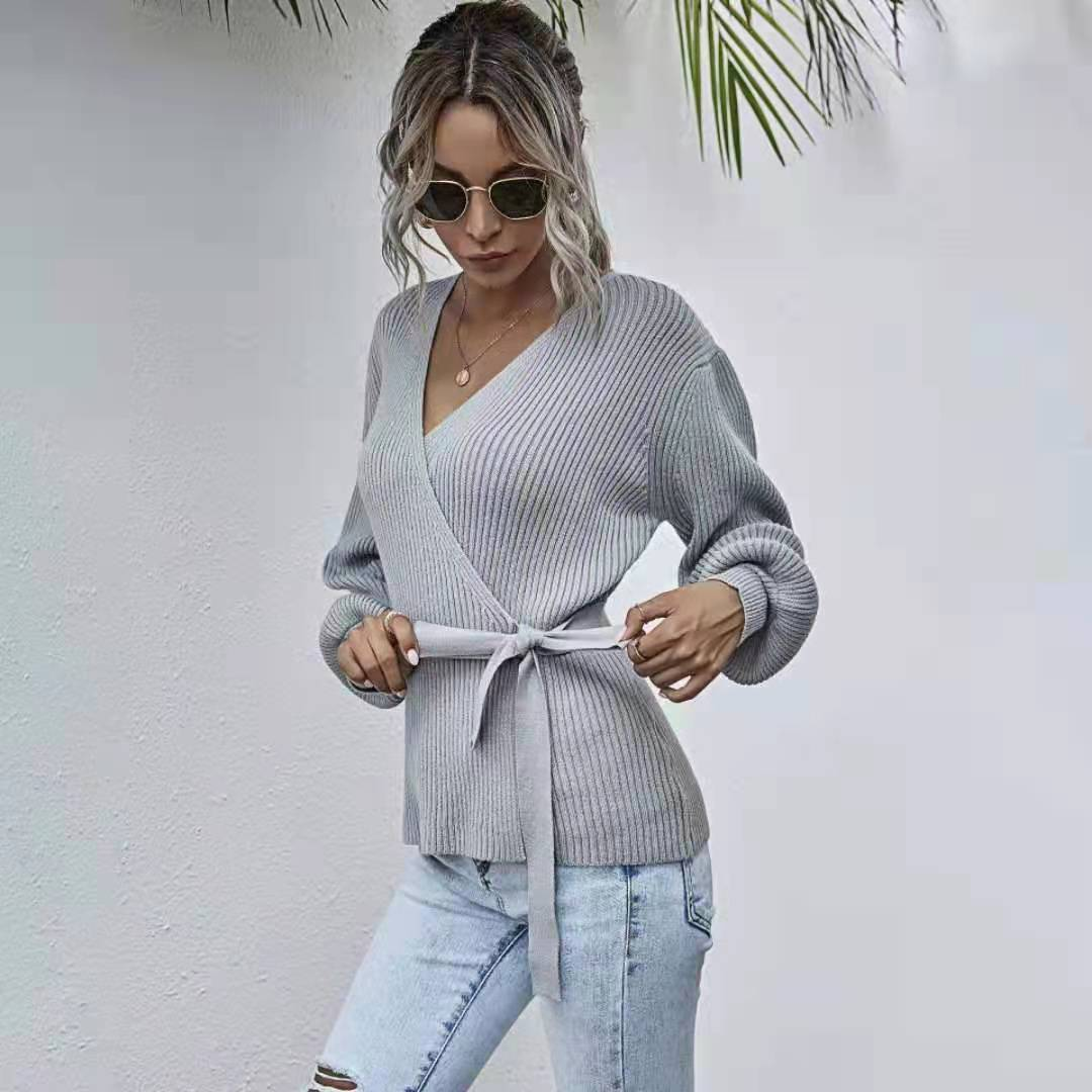 grey rib crossed front deep v neck self tie playsuits Fall Winter 2021 Crossed Breast Wrap Sweater for Women V-neck Pull-back Waist Tie Knit Jacket