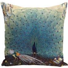 Vintage Olieverfschilderij Kussens Cover 45X45Cm Blauw Wit Pauw Decoratieve Kussens Case Voor Couch Home Sofa decor