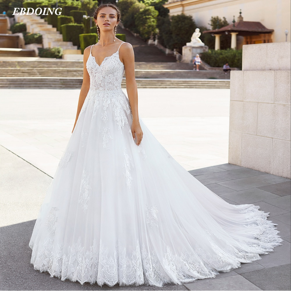 جديد وصول a-line فستان الزفاف الدانتيل للنساء الخامس الرقبة مفتوحة الظهر حجم كبير فستان العروس 2021 Vestidos De أحدث