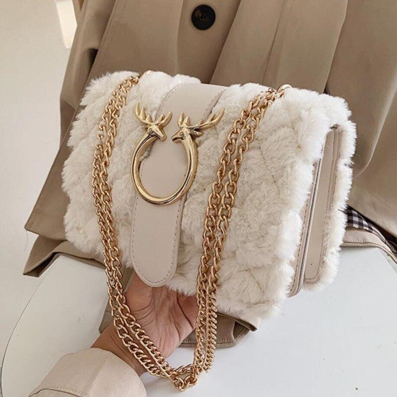 Bolso de mano femenino de invierno de felpa suave con cierre con motivo de ciervo y cadena bandoleras cruzadas para mujer