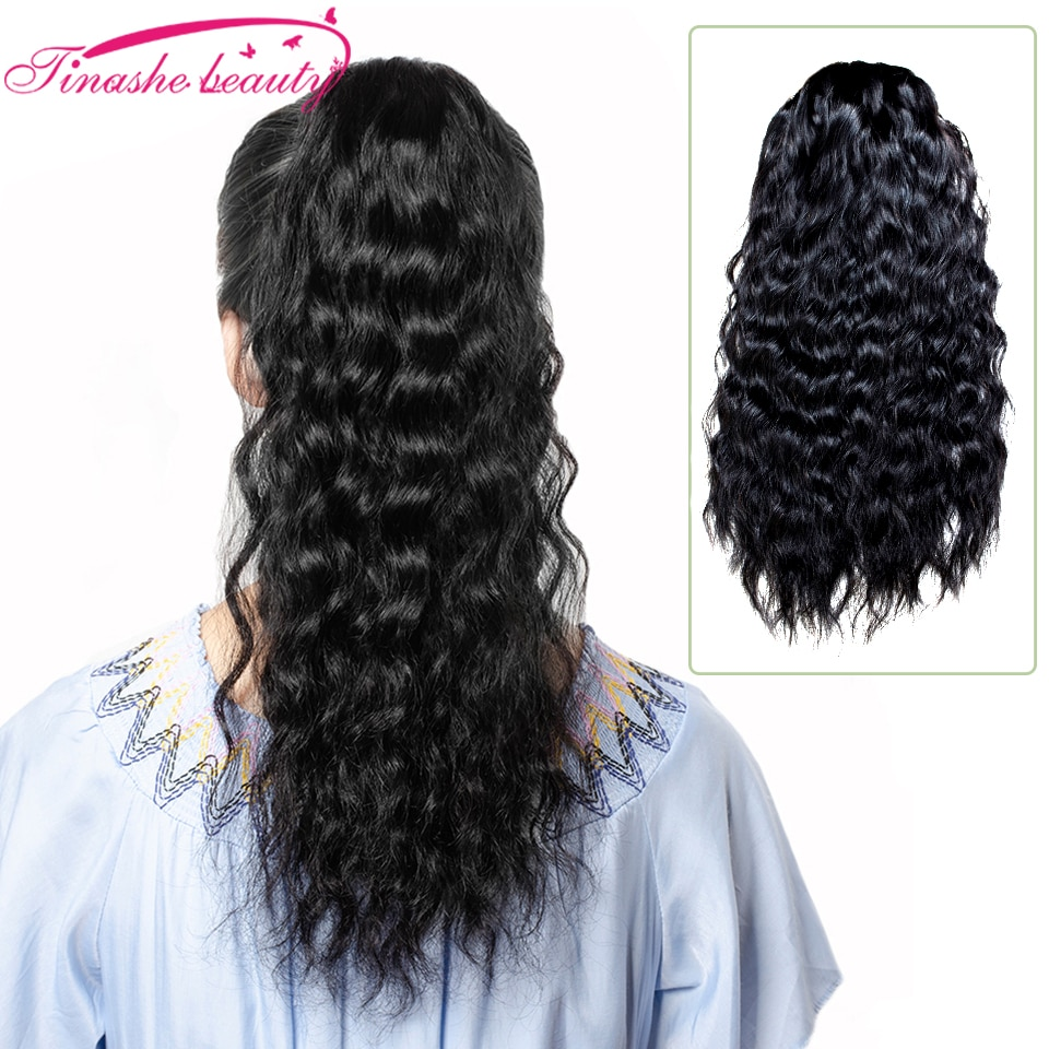 Tinashe Beauty Natural Wavy Drawstring Ponytail Human Hair Afro Clip In Extensions Brazilian Pony Tail Remy Natural Black Black недорого