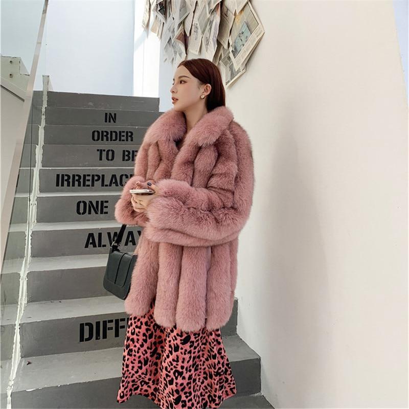 FURSARCAR 2021 جديد الشتاء الثعلب الفراء معطف للنساء 75 سنتيمتر طويل ريال الطبيعية الفراء سترة موضة الجلد كله أبلى مع طوق