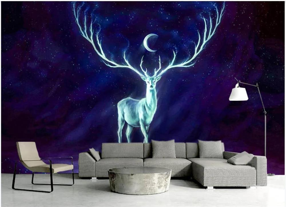 beibehang custom wallpaper high fashion modern fashion hand painted beauty shop barber background wall mural photo 3d wallpaper Custom photo wallpaper 3d mural wallpaper for walls 3d European hand painted beautiful moon starry deer wall paper background