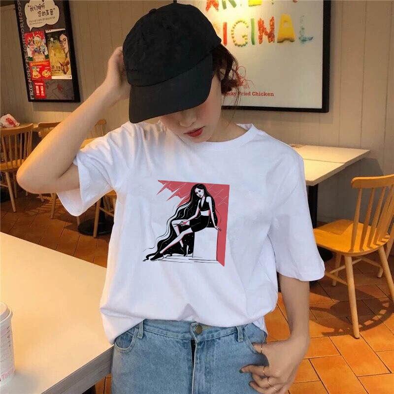 Новинка 2021, женская футболка, сексуальные летние футболки с коротким рукавом для девушек, повседневные модные женские топы, футболки Ullzang, в...