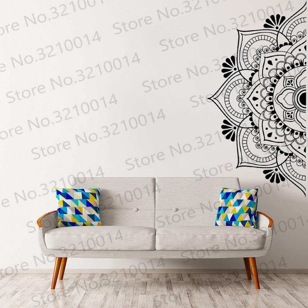 Hermosa media Mandala pegatina para pared para dormitorio flores Datura calcomanía de...