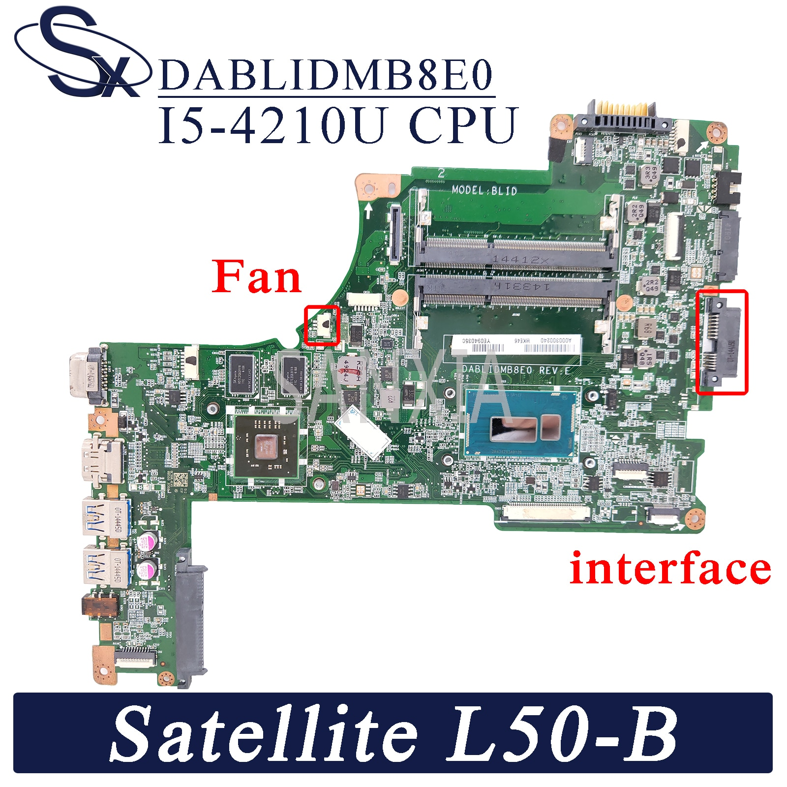 Placa-mãe do Portátil para Toshiba Kefu Satellite Original Mainboard I5-4210u pm Dablidmb8e0 L50-b L55-b