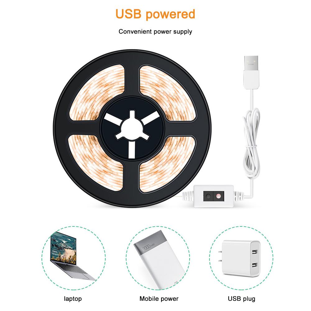 [해외] LED 스트립 빛 USB 2835SMD DC5V 유연한 손 스윕 센서 빛 방수 램프 테이프 디 밍 옷장 캐비닛에 대 한