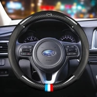 car carbon fiber steering wheel cover 38cm for subaru all models brz forester xv sti auto interior accessories car styling