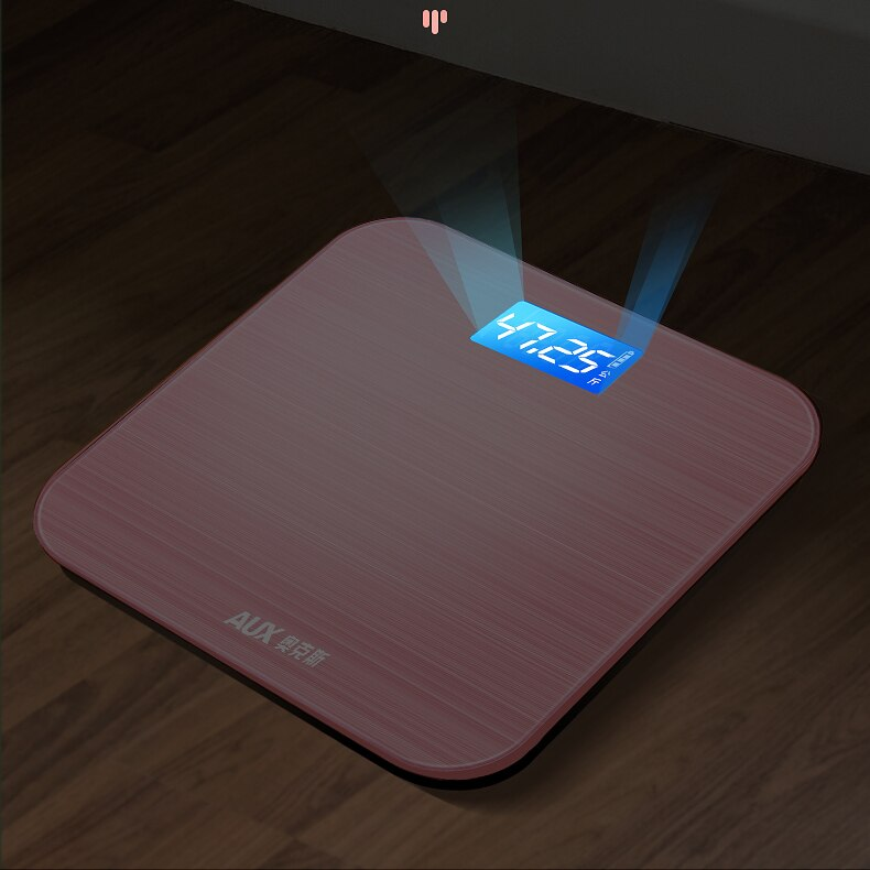 Electronic Digital Scale Usb Charging Pink Precision Balance Led Scale Glass Bathroom Medidor De Grasa Household Items DE50TZC enlarge