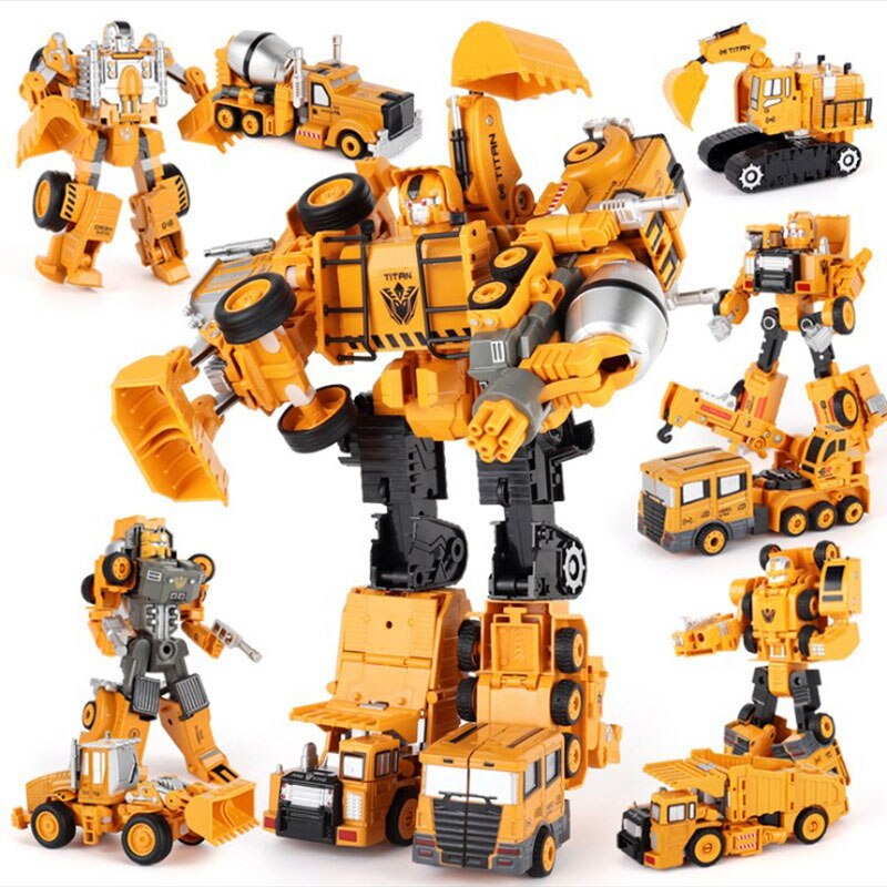Transformation Robot Car Metal Alloy Engineering Construction Vehicle Truck Model Excavator Toys 2 in 1  Kid  Crane Gifts kid model toys 1 50 scale engineering vehicle truck car model 140m3 motor grader high line series 85544 diecast model toys