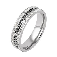 fashion crystals rhinestones stainless steel rings for women men punk chain design finger rings womens jewelry gifts
