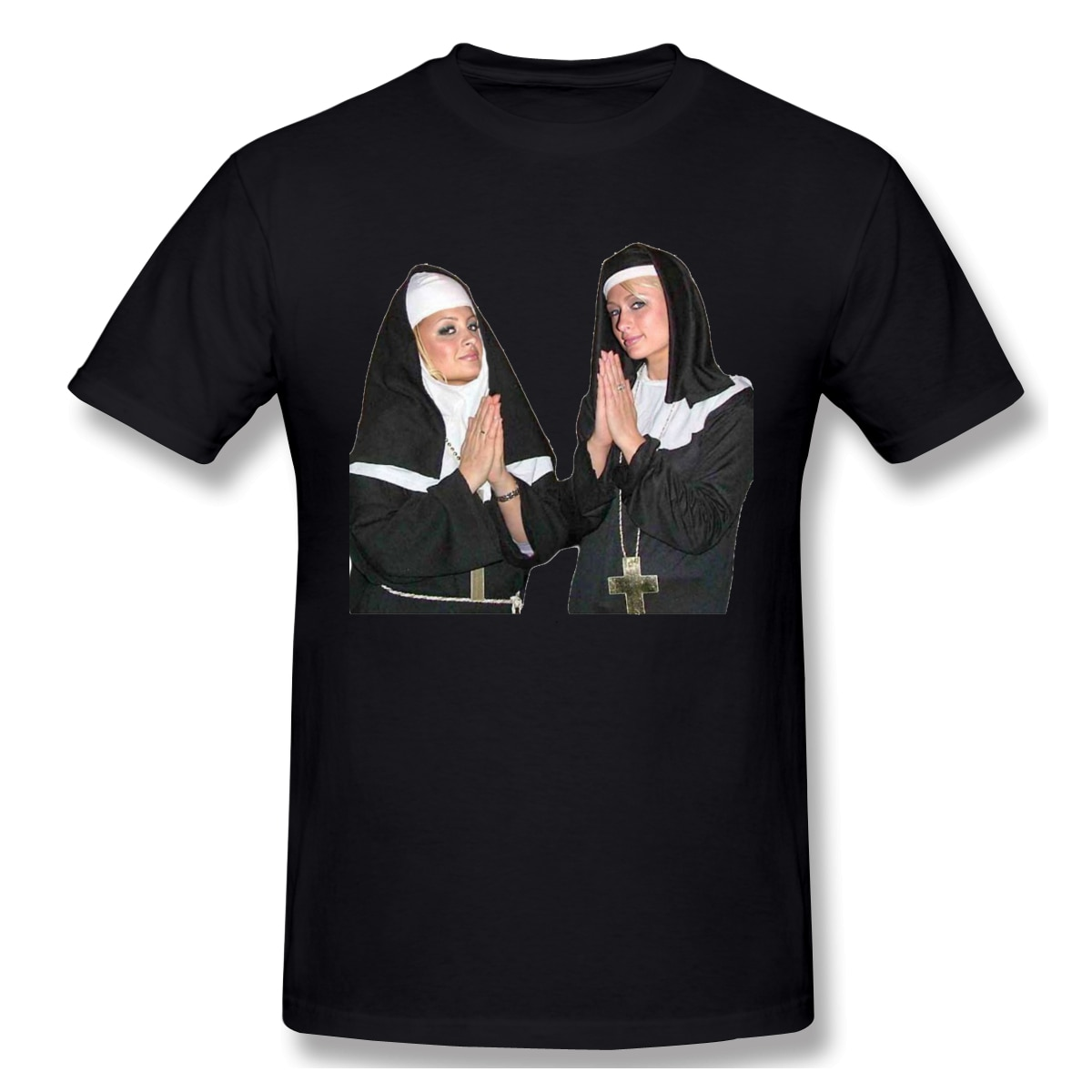 Yüksek kaliteli o-boyun 100 pamuklu üst giyim & Tees bant Saint Paris Hilton ve Nicole Richie T-shirt yaz/sonbahar kollu kısa