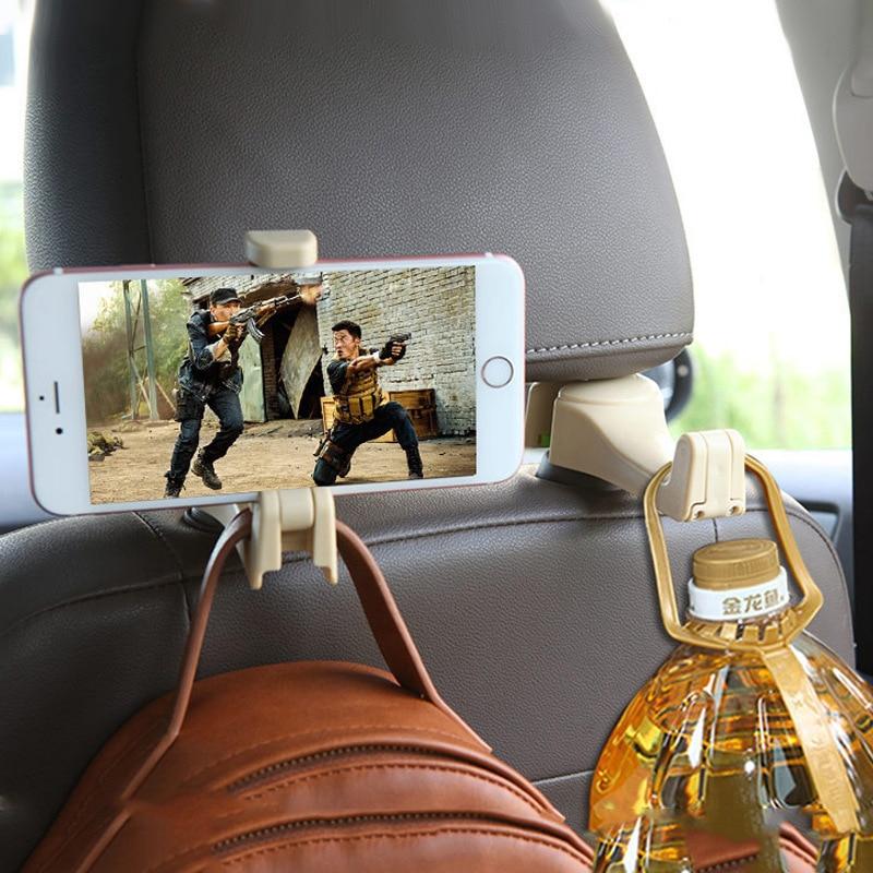 Автомобильный крючок для заднего подголовника, многофункциональный держатель для телефона, кронштейн, автомобильная вешалка для спинки си...