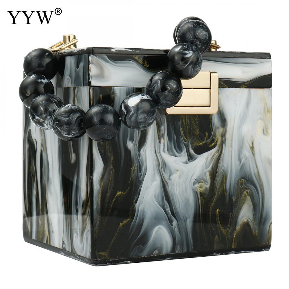 Beads Top Handle Handbag Female Ink Pattern Evening Clutch And Purse Women'S Bag 2020 Fashion Mini Totes Acrylic Box Bag Bolso
