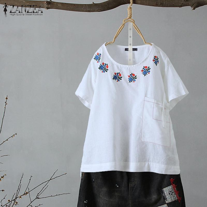 2020 verano Floral bordado blusa ZANZEA Vintage algodón túnica Tops mujeres pantalón corto casual manga Camisas Mujer Blusas Chemise