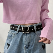 Korean New Full Hole Canvas Belt Women's Ins Simple All-Match Punch-Free Fashion Decoration Jeans Be