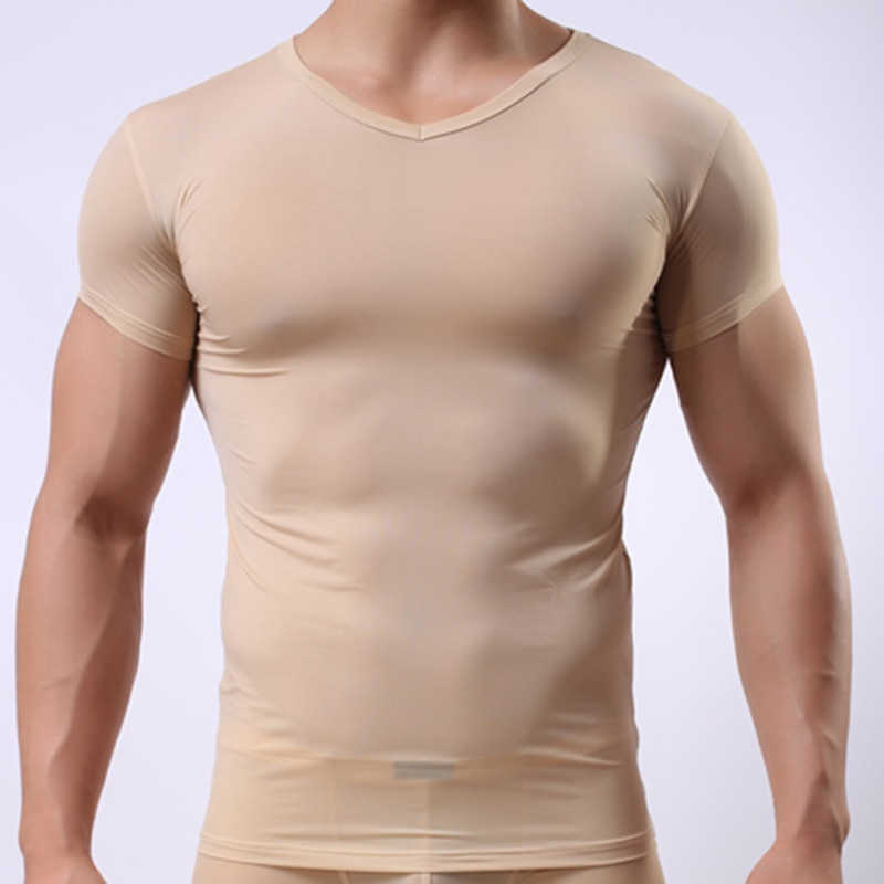 Men's Skinny Undershirt/Man Ice Silk Sheer Short Sleeves Basic Shirts/Gay Mesh Breathable V-neck See Through Underwear