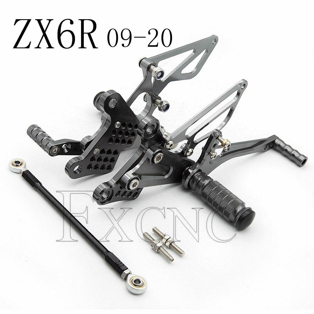 CNC Rearset لكاواساكي النينجا ZX6R 636 ZX636 ZX-6R ZX 6R 636 الألومنيوم قابل للتعديل دراجة نارية Rearsets القاعدة الخلفية مجموعات أوتاد القدم دواسة