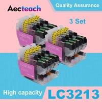 Aecteach 3 סטי LC-3213 דיו מחסנית LC 3213 XL תואם עבור Brother DCP-J772DW DCP-J774DW MFC-J890DW MFC-J895DW מדפסת