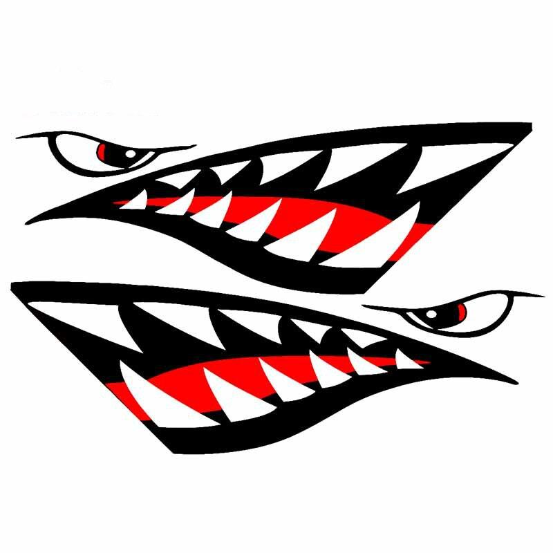13cm para tiburón boca dientes pegatina de dibujos animados impermeable coche pegatinas creativas Graffiti motocicleta Decoración Para JDM SUV
