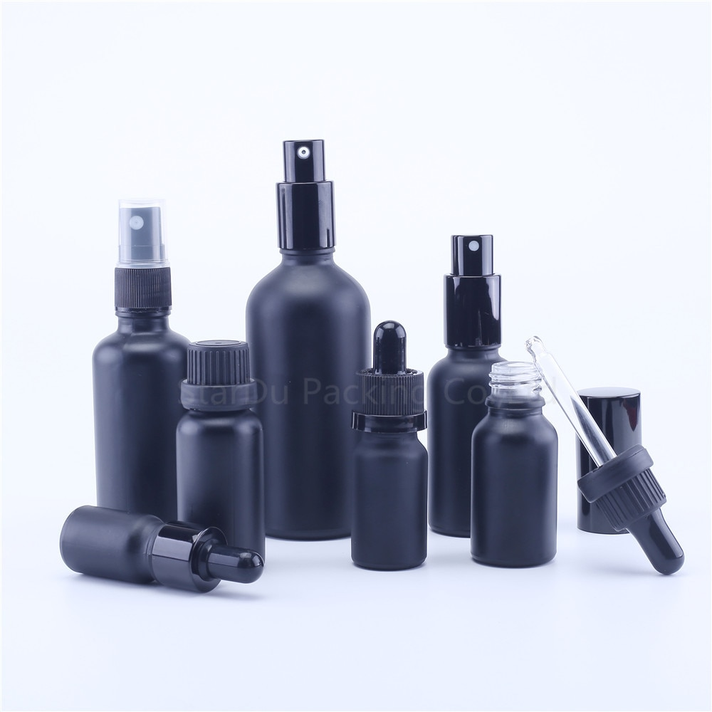 5ml 10ml 15ml 20ml 30ML Black Glass Bottle With Dropper for essential oil, 50ml 100ml Matt Black Perfume bottles 100pcs 3ml 5ml 10ml 15ml 20ml 30ml 50ml pe plastic dropper bottle empty e liquid squeeze bottle with childproof cap and fine tip