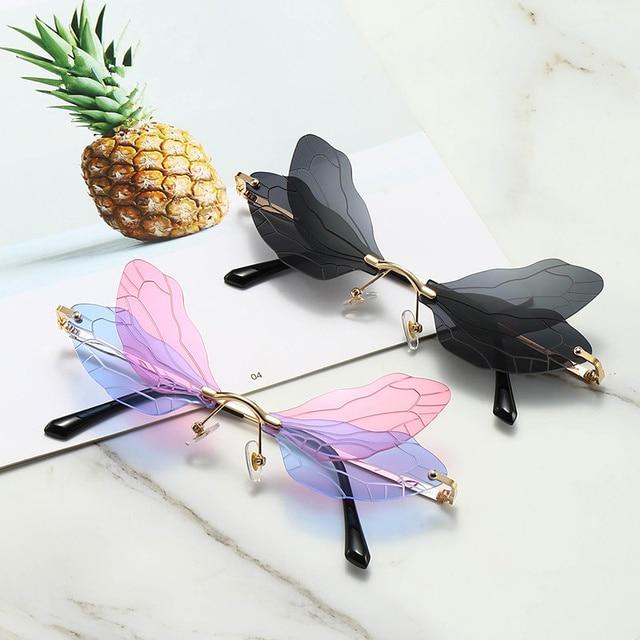 2020 New Fashion Dragonfly  Sunglasses Women Men Brand Design Rimless Wave Eyewear Luxury Trending Narrow Sun glasses