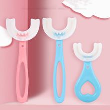with Handle Silicone Children 2-12 Years Old Kids Toothbrushes Oral Care U-Shape Toothbrushes Teeth