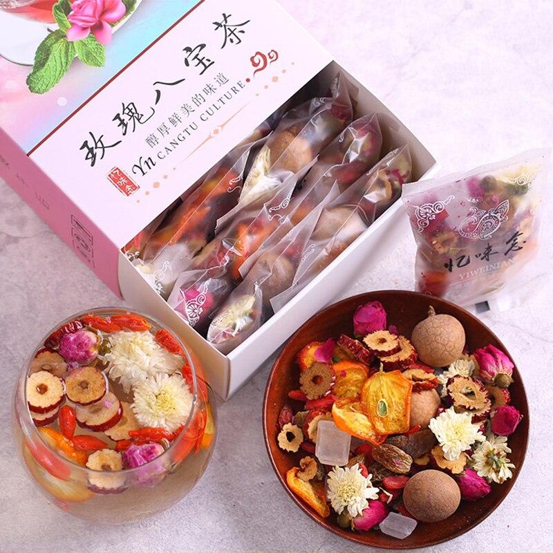 2021 Китайский травяной китайский чай, натуральный чай бабао, включает китайские чаепития Longan Rose Jujube, помогает пищеварению, красота кожи 180 г