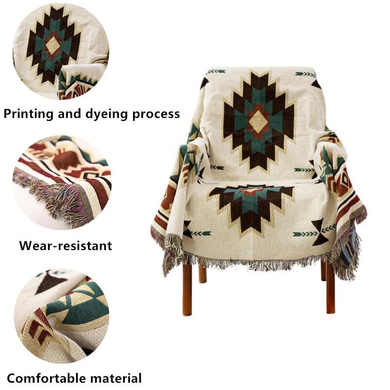 Ethnic Style Geometric Sofa Blanket Leisure Blanket Tapestry Soft Warm Cotton Blanket Spring And Autumn Light Sofa Blanket