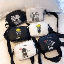 Women Square Crossbody Bag Wide Strap Soft PU Leather Messenger Cartoon Pattern Shoulder Cute Girl P