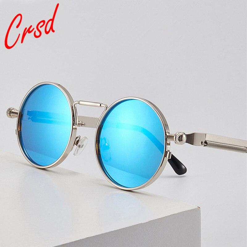 CRSD New Punk Sunglasses Vintage Metal Frame Driving Eyewear Women Men Retro Round Steam Brand Desig