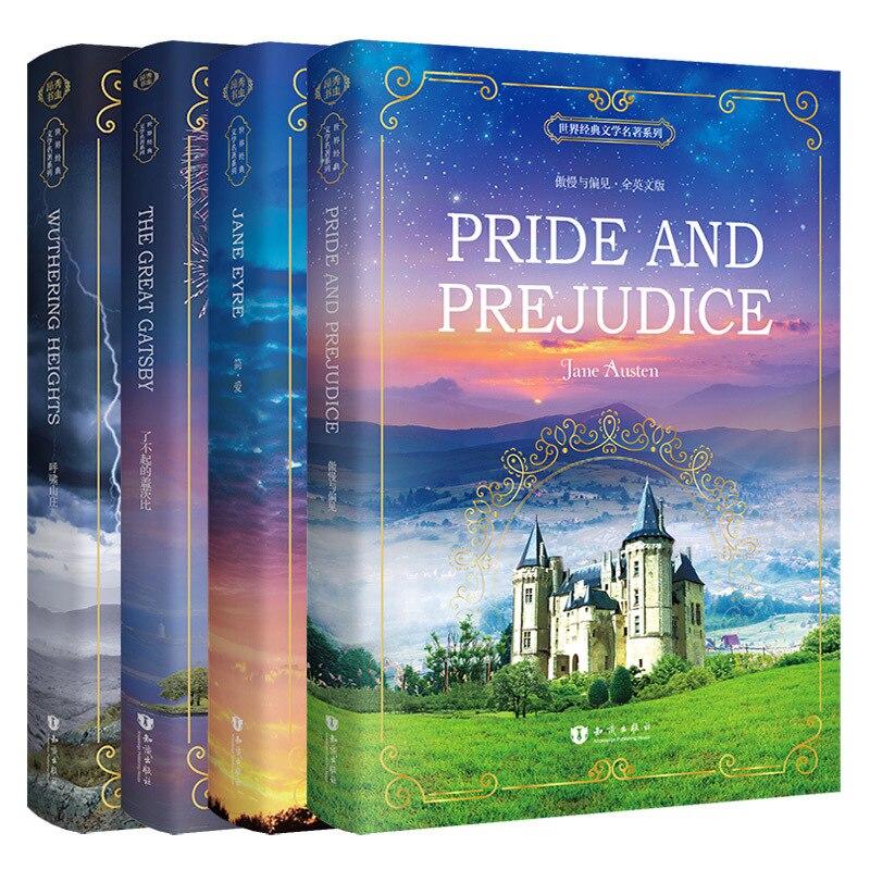 ¡Éxito de ventas! 4 libros/juego de libros clásicos en inglés, nueva literatura extranjero en el mundo en inglés