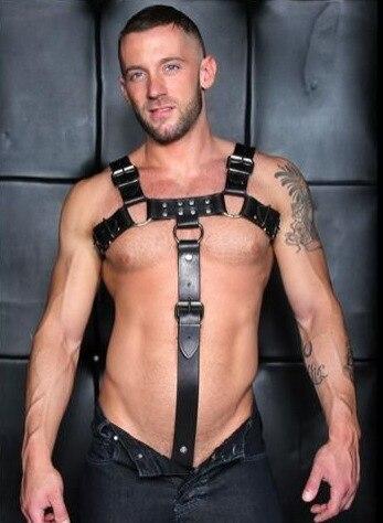 Sexy Lencería de hombre arnés corporal para el pecho disfraz de bondage Faux Leather Adjustable traje caliente BDSM exótico adulto club nocturno ropa