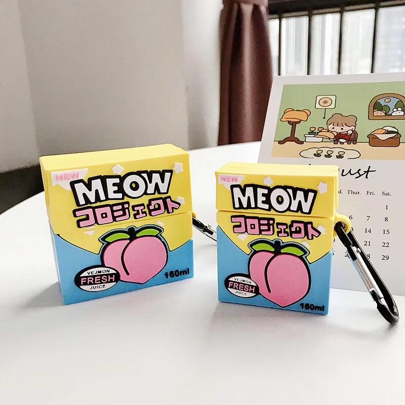 Para Airpods pro 2 1 funda bonita melocotón bebidas colorido zumo fresco meow 3D silicona suave divertida funda protectora estilo comida