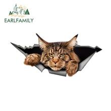 EARLFAMILY 13 см x 6,1 см, наклейка для машины мейн-кун, рваная металлическая наклейка, Светоотражающая наклейка, 3D забавная большая кошка, наклейка ...