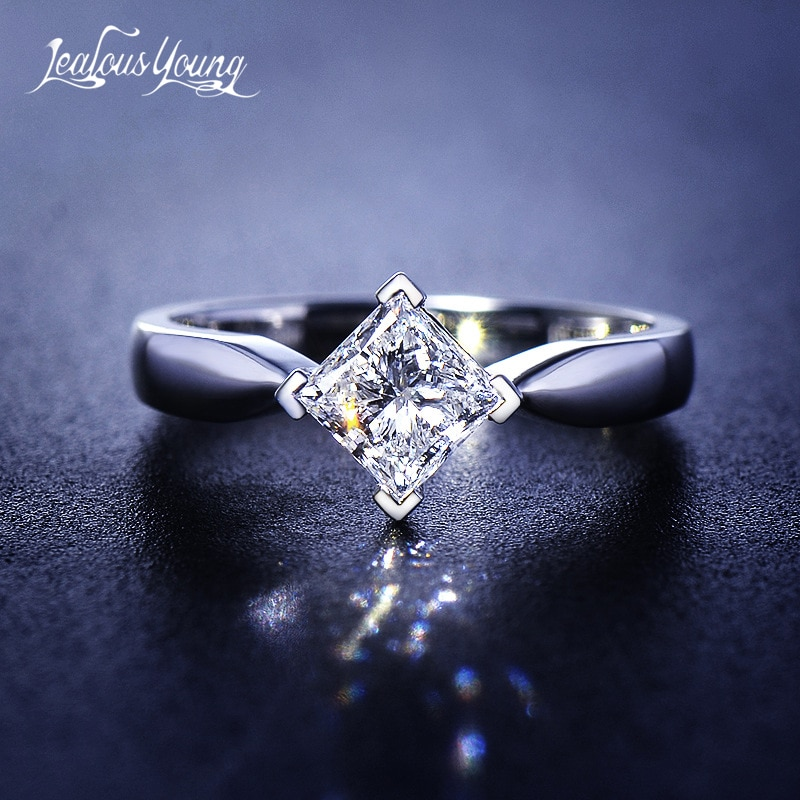 Fashion Female Square Crystal Zircon Stone Promise Engagement Rings Cute Small Silver Color Finger Ring for Women