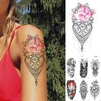 lotus rose flowers lace temporary tattoo sticker flash waterproof tattoos skull wolf daisy body art arm fake tatoo women men