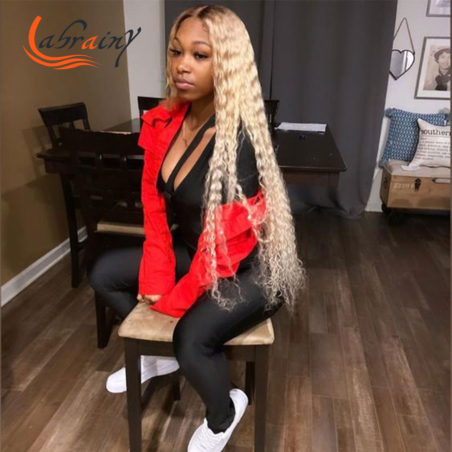 40 Inch 613 Ombre Honey Blonde Hd Transparent Lace Front Human Hair Wig 13X6 Lace Frontal Brown Deep Wave Color Wigs Pre Plucked