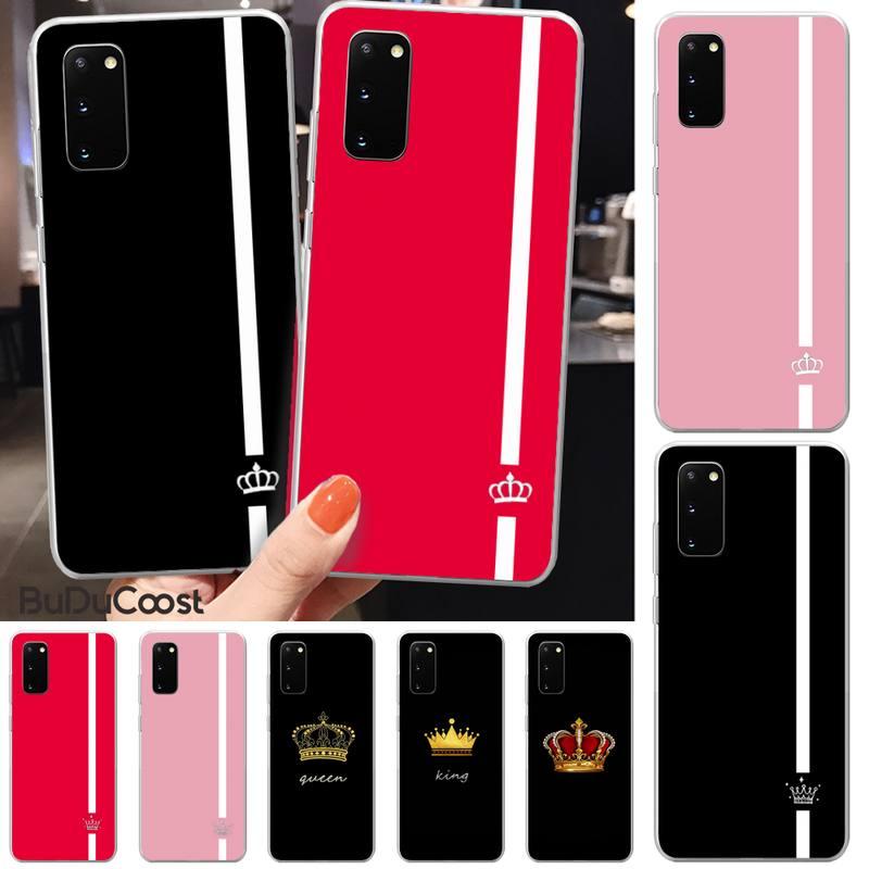 Manton casal coroa coroa rainha capa de telefone para samsung s5 6 7 8 9 10 s8 s9 s10 plus s10e lite S10-5G s20 uitra mais