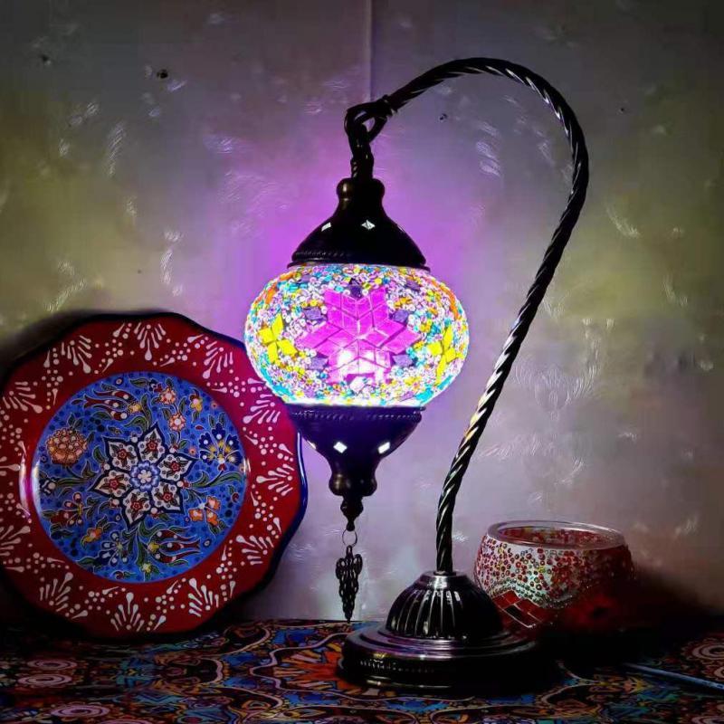 التركية فسيفساء الجدول مصباح خمر آرت ديكو اليدوية فسيفساء لمبة مكتب فسيفساء الزجاج رومانسية إضاءة السرير لغرفة النوم