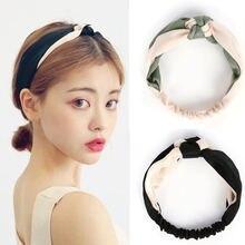 Corée tempérament deux couleurs épissage noeud chinois large bord contraste croix bandeau de cheveux luxe rétro Satin bandeau accessoires