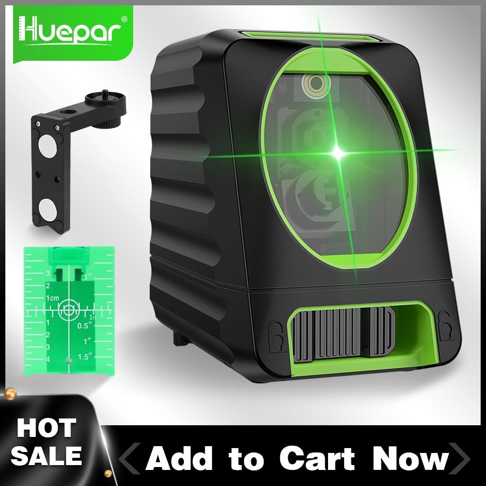 Huepar 150ft/45m عبر خط ليزر مستوى 2 خطوط الذاتي الإستواء الرأسي و الأفقي الأخضر الحزم ل في الهواء الطلق استخدام BOX-1G