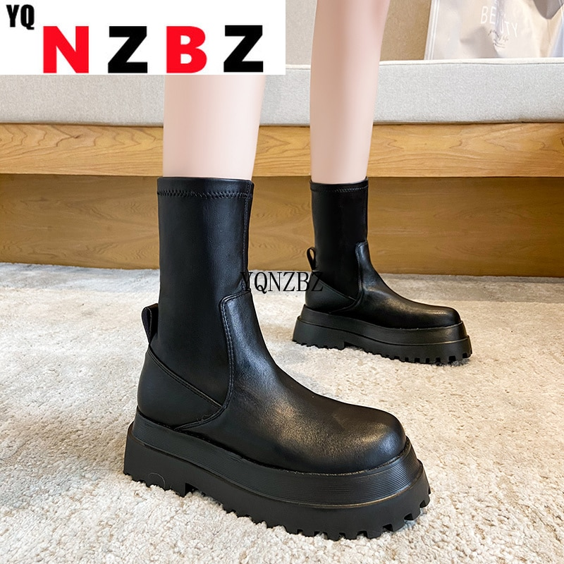 2021 New Winter Fashion Boots Women Platform Warm Shoes Mid-Calf Boots Ankle Boots Zipper Leather Bo
