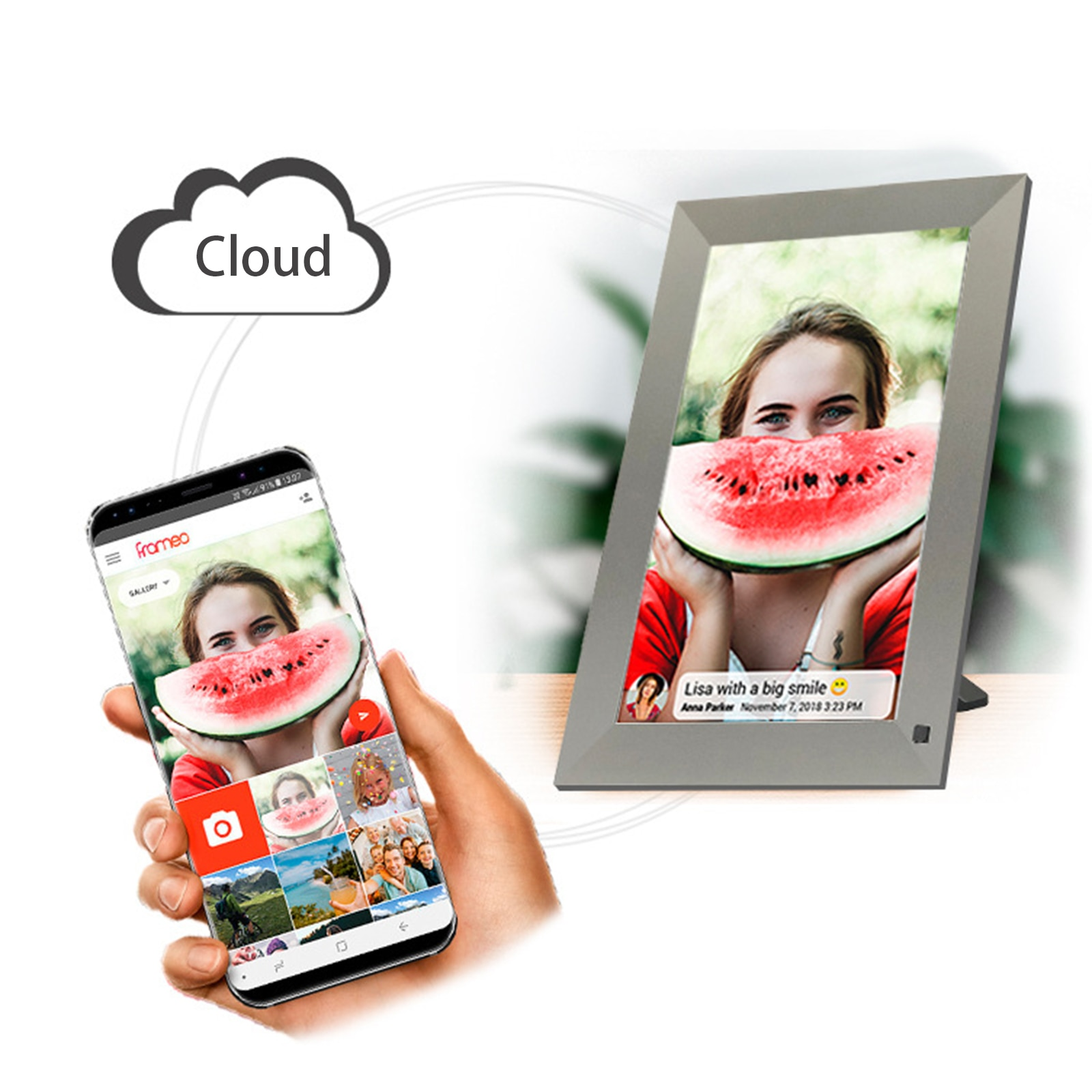 Digital Photo Frame With Photo Slideshow Widescreene Photo 10.1 Inch WiFi Photo Frame with HD IPS Touch Screen Portrait Via App