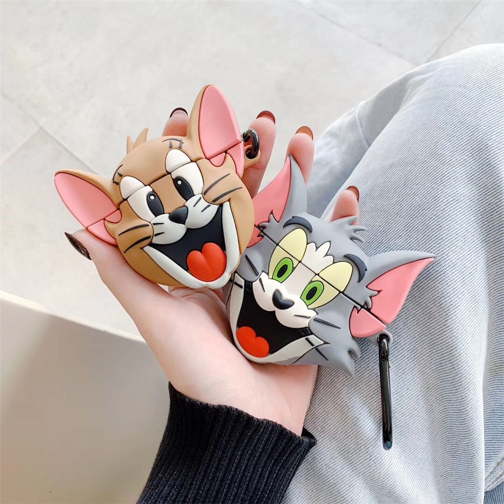 Funda con diseño de ratón y gato para airpods 2, bonita funda de silicona con Auriculares inalámbricos con bluetooth de anime para apple airpods pro con llavero