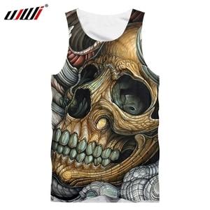 UJWI Skull Printing Bodybuilding Stringer Tank Tops Men Gyms Stringer Shirt Fitness Tank Top Men Gyms Clothing Vest Shipping
