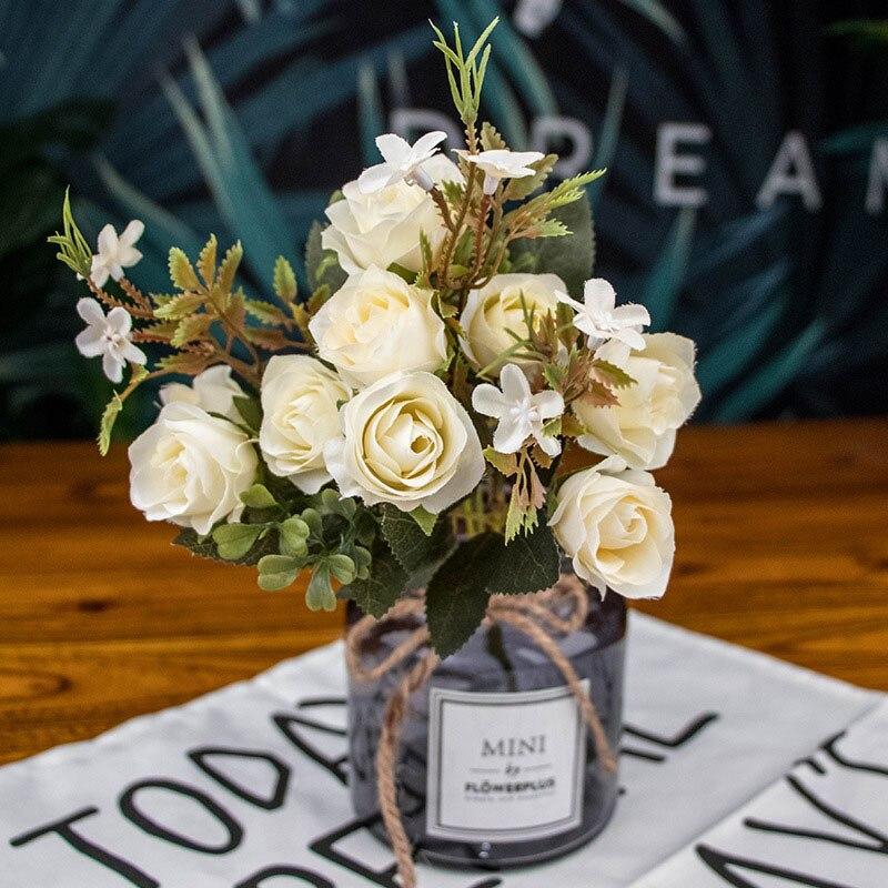 10 cabeza otoño té flores de rosas de seda ramo de flores artificiales cabezas regalo jardín otoño Gerbera Daisy boda decoración del hogar