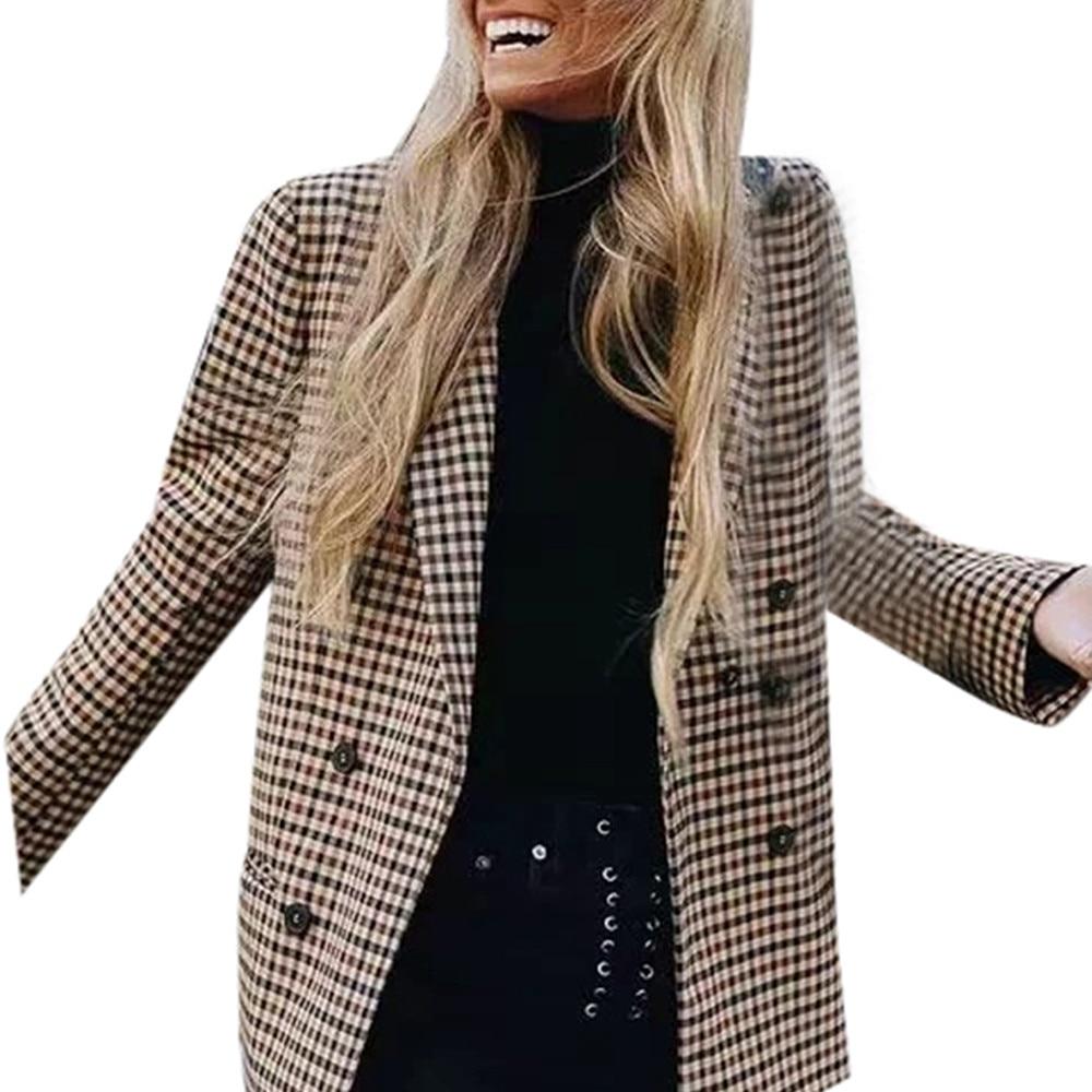 Feitong mulheres casaco de escritório senhoras jaquetas retro botão treliça ombro pads terno casacos feminino manga longa workout jaquetas inverno