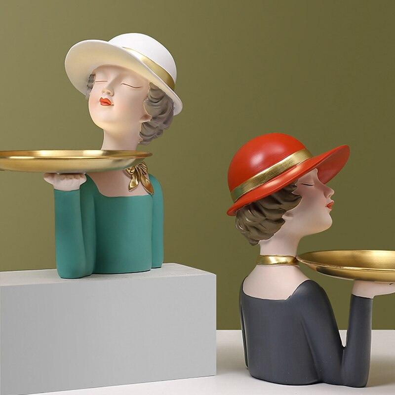 Bolha de Luxo Simplitynordic Moderno Menina Bandeja Decorativa Figura Resina Artesanato Criativo Casa Sala Estar Ornamentos Mesa Luz