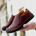 Men Genuine Leather Loafers Shoes Soft Moccasins Flats Comfortable Casual Shoes Slip-On Mens Shoes Driving Shoes Big Size 38-47